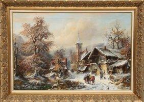 Janez Kenzer, Wintry Village Landscape, Oil Paintin