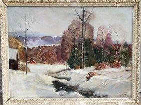 P. Pablo, Snowy Landscape, Oil Painting