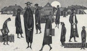 Moshe Bernstein, European Yeshiva, Ink Drawing