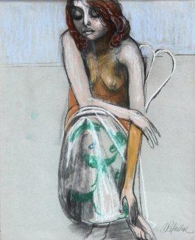 Anton Refregier, Seated Girl, Pastel Drawing