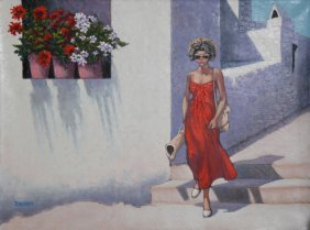 Bassari, Woman In Street 1, Oil Painting