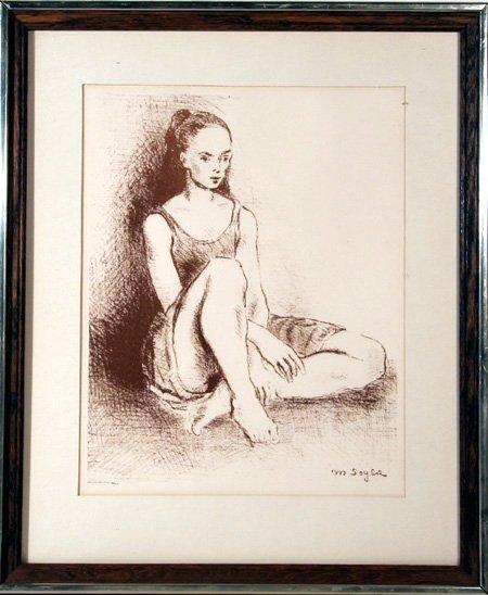 98: Moses Soyer, Ballet Dancer, Lithograph