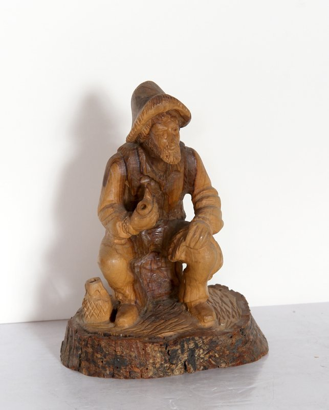 103: Omar Baka, Old Man Smoking Pipe, Hand-Carved Wood