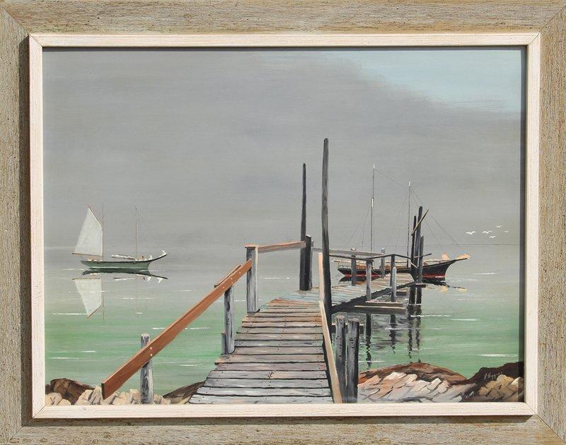 106: Howe D. Higgins, Dock, Acrylic Painting