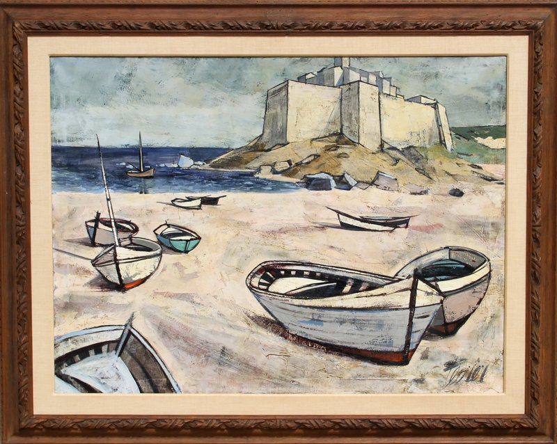 108: Charles Levier, Seaside, Oil Painting