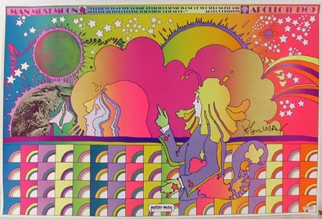 21: Peter Max, Apollo Number 1 Man Must Moon, Signed Po