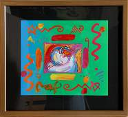 258: Peter Max, I Love the World, Acrylic Painting
