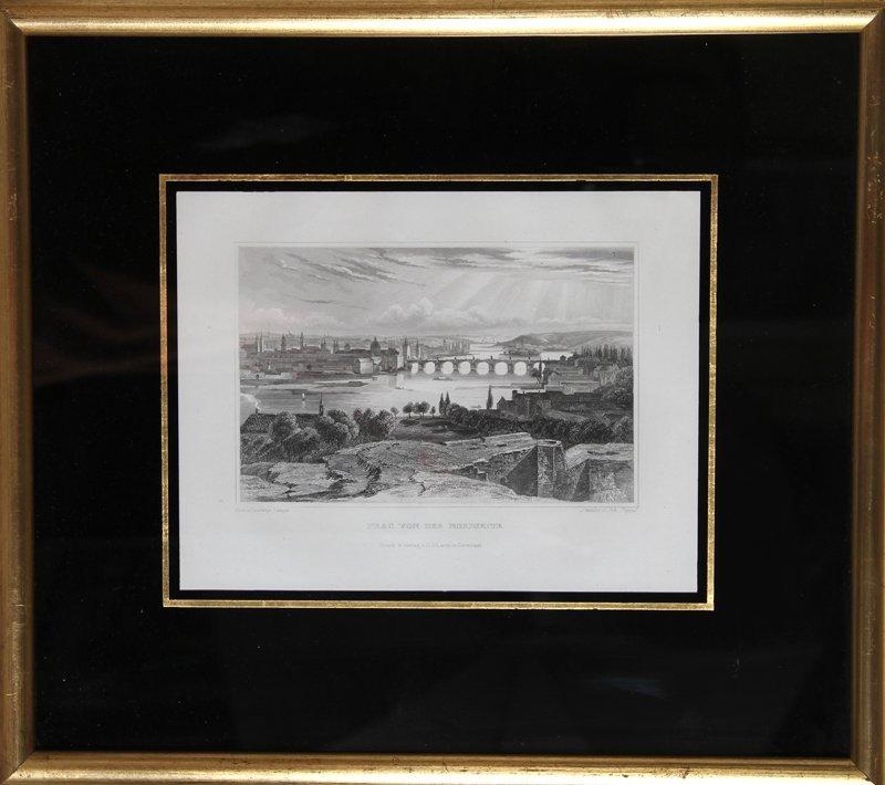 6: Ludwig Lange, Prag von der Nordseite, Engraving by J