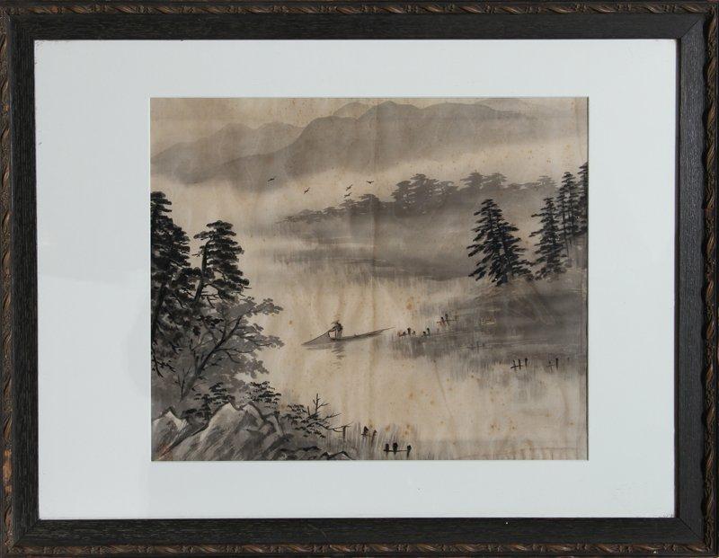 8: Japanese Fisherman, Watercolor on silk