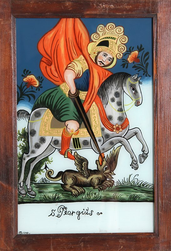13: St. Georgius, Reverse Painting on Glass