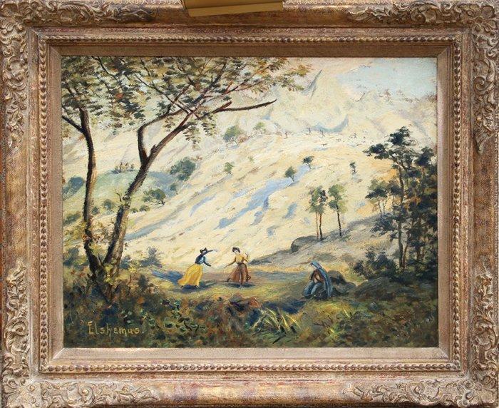 23: Louis Michel Eilshemius, Girls Playing, Oil Paintin