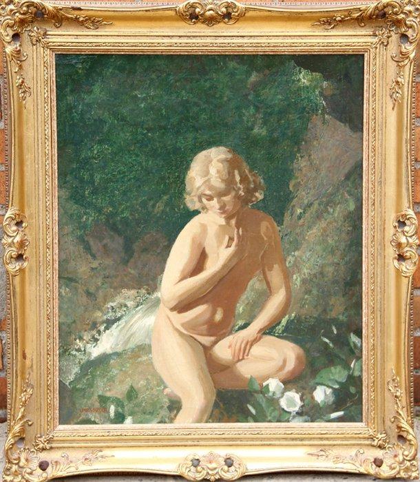 24: John Bulloch Souter, Seated Nude by Waterfall, Oil