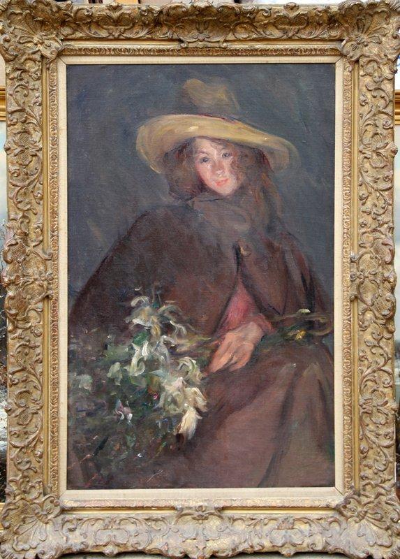 25: Albert de Belleroche, Portrait of a Girl, Oil Paint