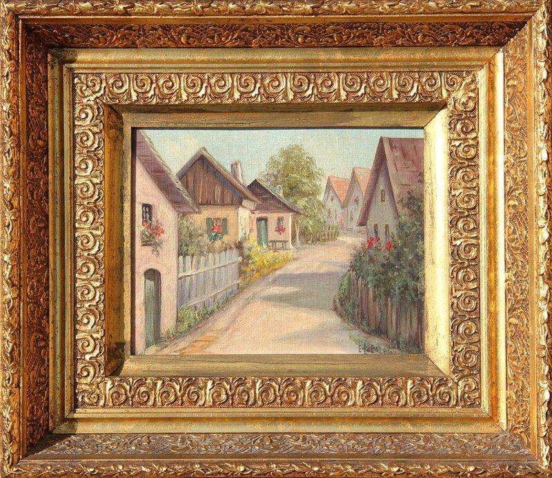 9: Eugene La Foret, Village Scene 2, Oil Painting