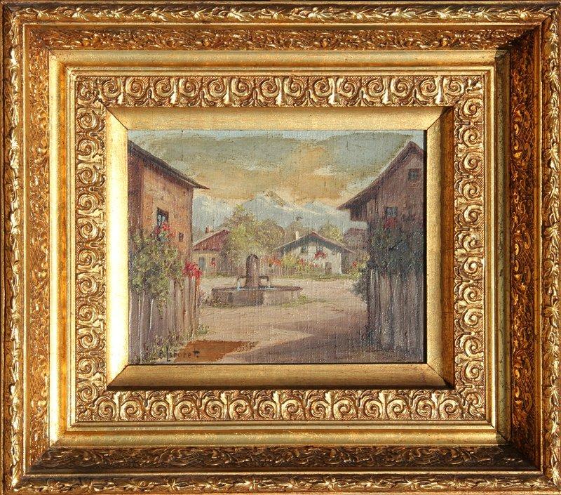 10: Eugene La Foret, Village Scene 1, Oil Painting