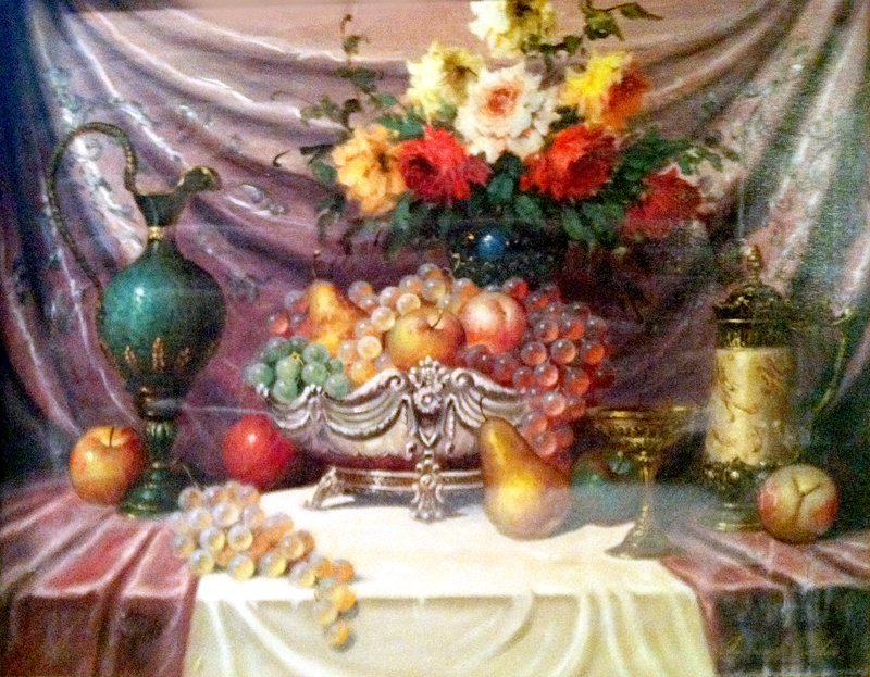 12: Bela Balough, Still Life with Vases and Flowers, Oi