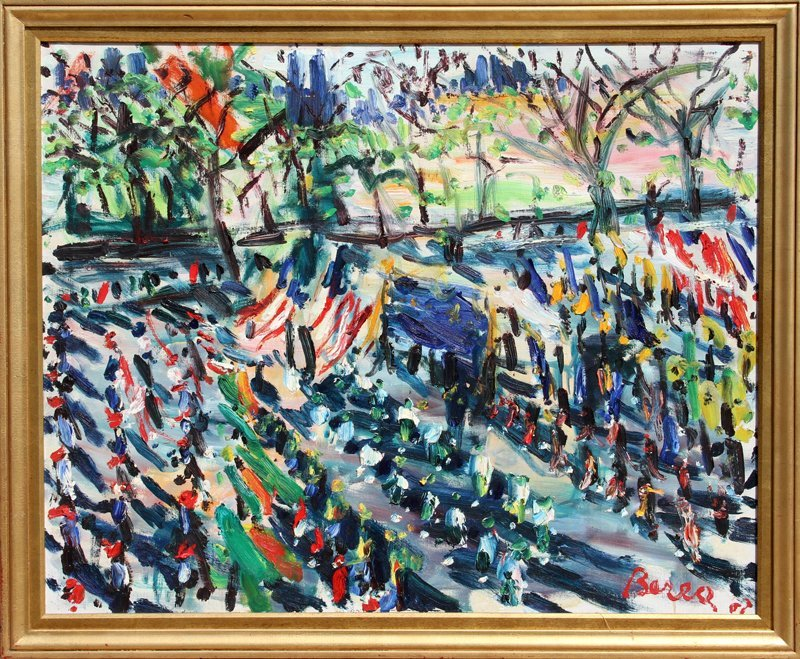 14: Dimitrie Berea, Parade on Fifth Avenue, Oil Paintin