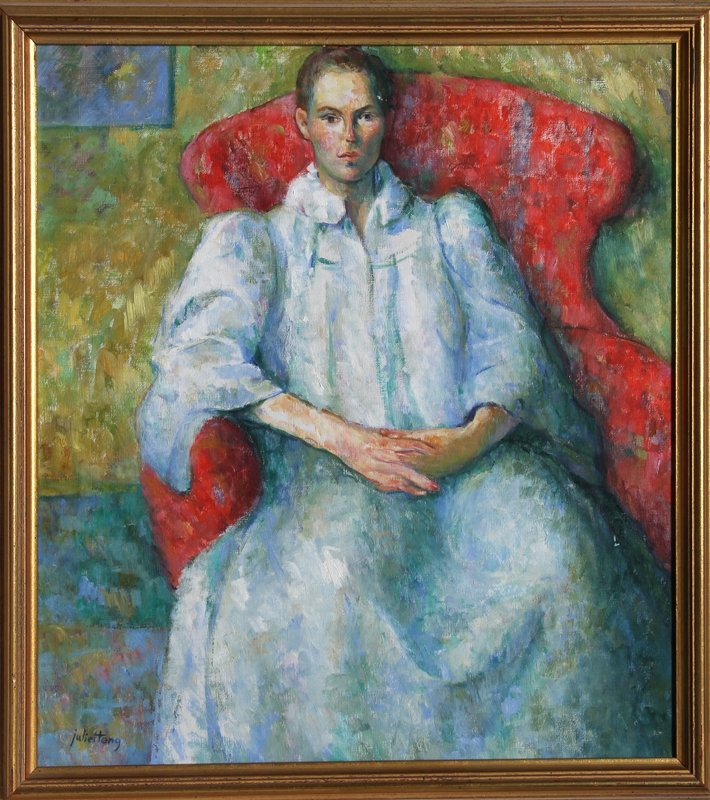 15: Juliet Teng, Seated Woman, Oil Painting