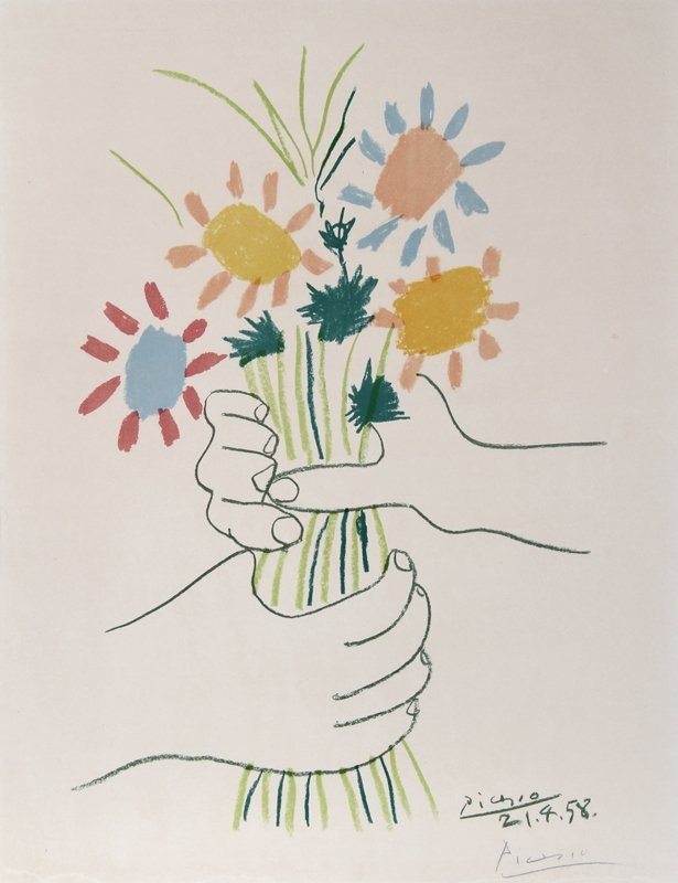 11: Pablo Picasso, Flower Bouquet, Lithograph