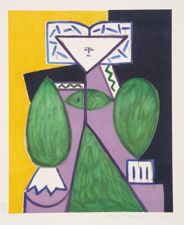 13: Pablo Picasso, Femme en Vert et Mauve, Lithograph