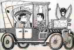 340: Rex Clawson, NYC Car, 1914, Mixed Media Artwork