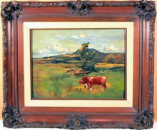 15: George Miller, Cows, Oil Painting