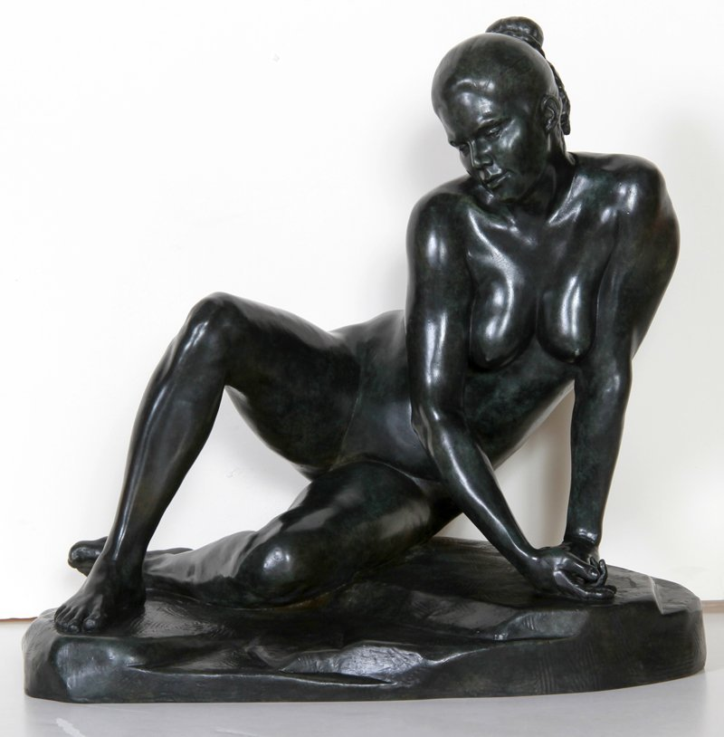 16: Kuno Lange, Untitled - Woman, Bronze Sculpture