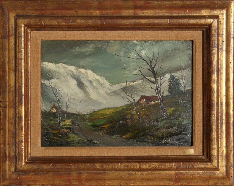 23: Marcel Bouyeron, Neige en Cantal, Oil Painting