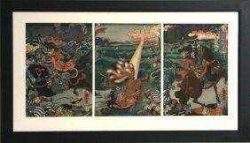 4: Utagawa Kunihisa, Hunting the Tailed Fox Triptych, W