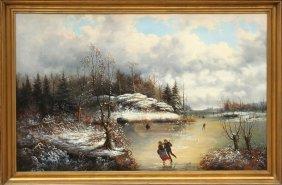 5: Frederic de Moucheron, Couple Ice Skating, Oil Paint