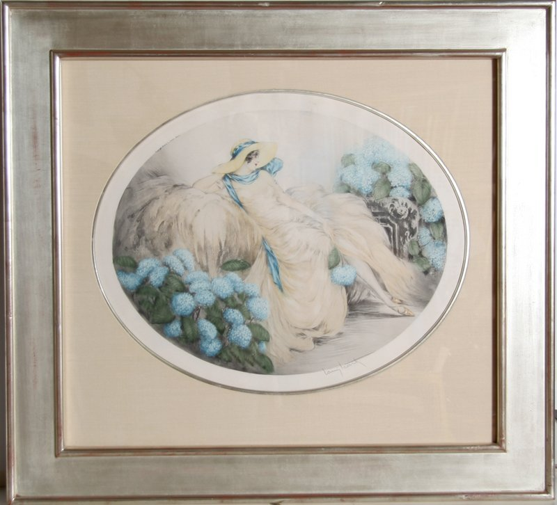 13: Louis Icart, Hydrangeas, Color Etching