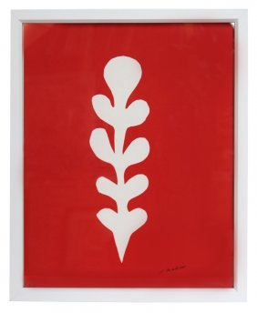17: Henri Matisse, Palme Blanche sur Fond Rouge, Silksc