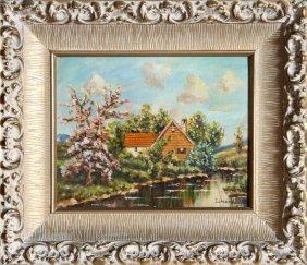 Schartt, Lakeside Cottage, Oil Painting