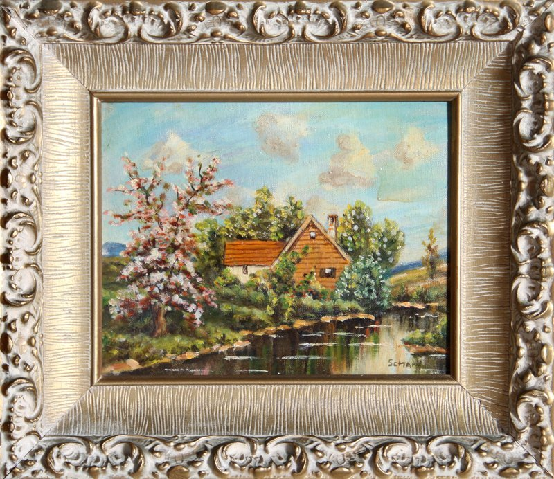 20: Schartt, Lakeside Cottage, Oil Painting