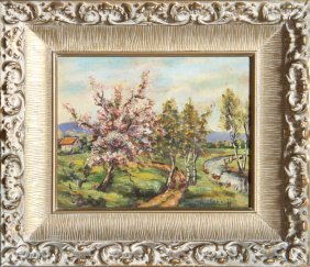 21: Schartt, Blossoming Trees, Oil Painting