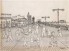 324: Vestie Davis, Coney Island, Pencil and Ink Drawing