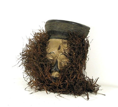 African Female Mask with Grass Beard
