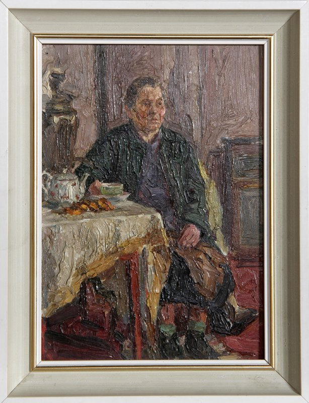 Woman Drinking Tea (Russian), Oil Painting