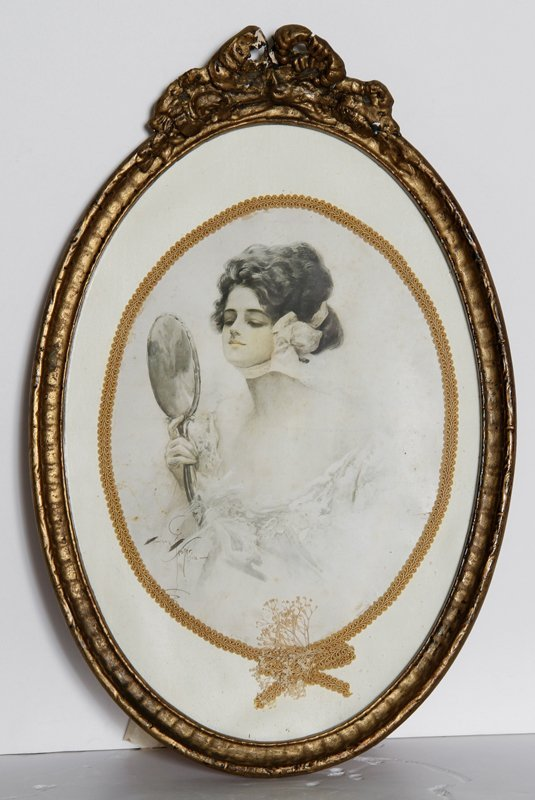 Harrison Fisher, Girl holding Mirror, Offset Lithograph