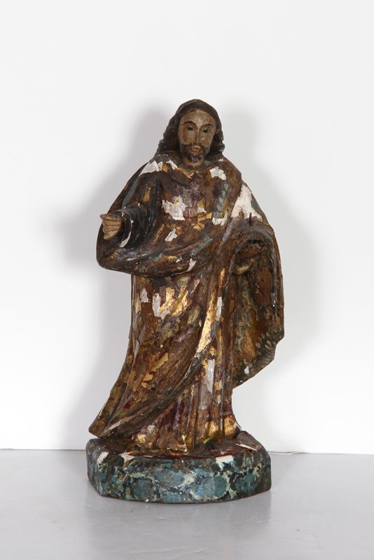 Religious Figure III, Hand-Carved and Painted Wood Scul