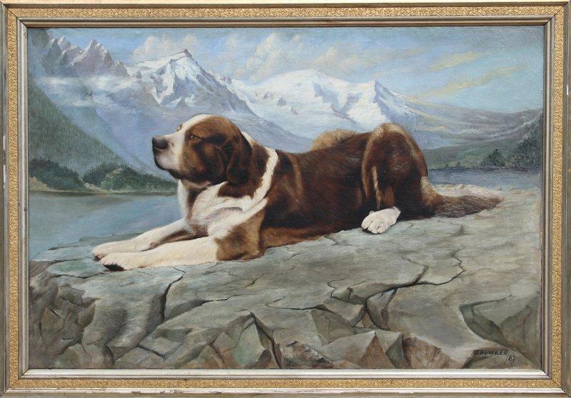 J. Bowker, St. Bernard, Oil Painting