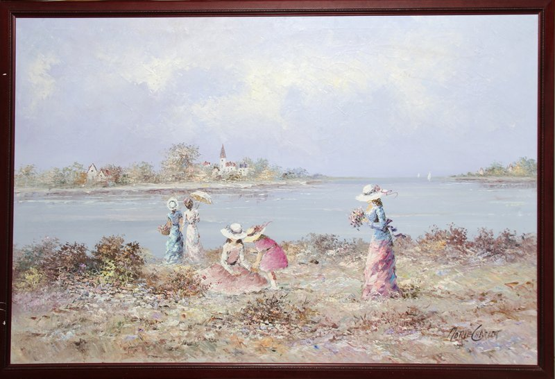 Marie Charlot, Girls at the Beach, Oil Painting