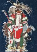 Kevin Red Star, Crow Warrior, Serigraph