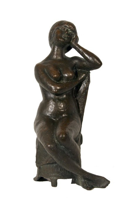G. Volpe, Seated Girl, Bronze Sculpture