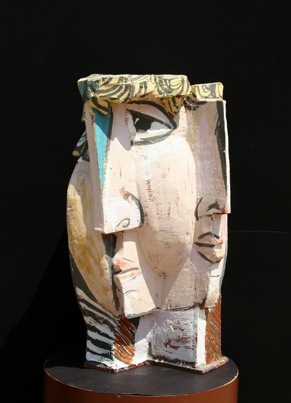 In the Style of Pablo Picasso, Cubist Face, Terracotta