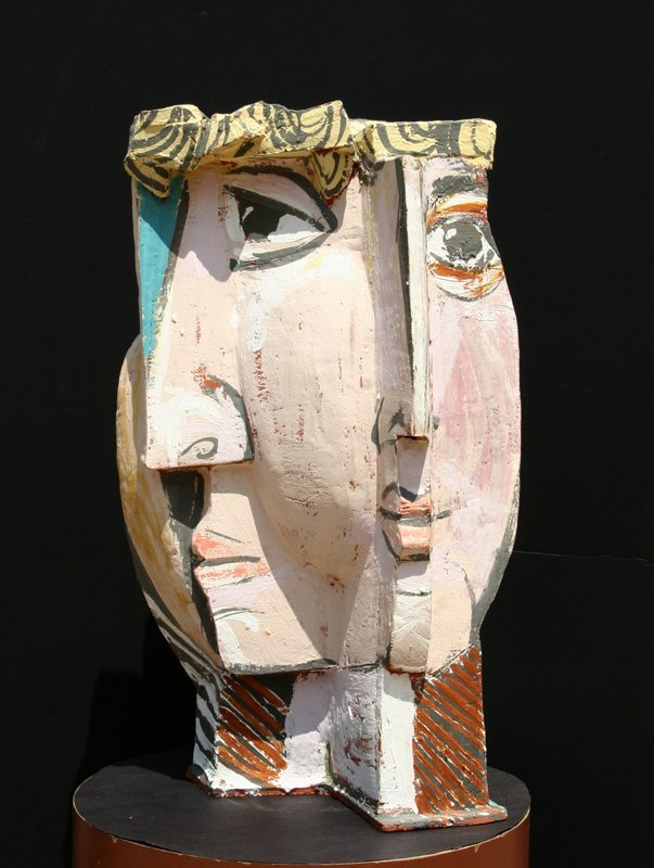 In the Style of Pablo Picasso, Cubist Face, Terracotta  - 2
