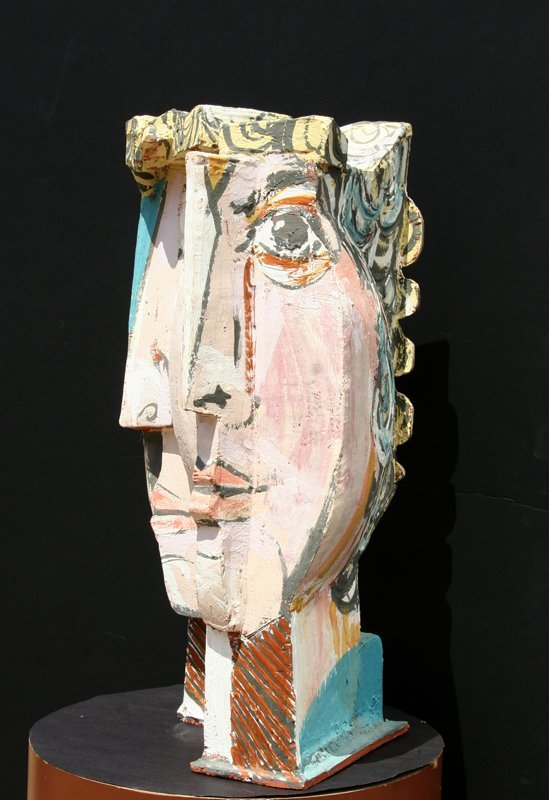 In the Style of Pablo Picasso, Cubist Face, Terracotta  - 3