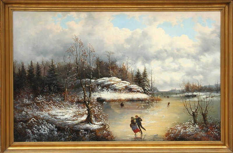 Frederic de Moucheron, Couple Ice Skating, Oil Painting