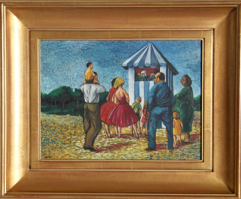 Liz Nicholls, Punch and Judy No. 1, Oil Painting