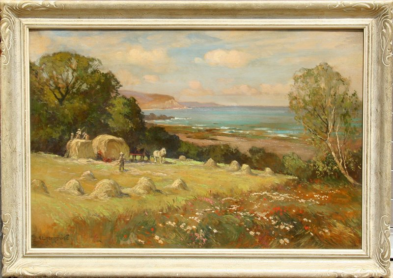 Ernest Llewellyn Hampshire, Harvest Time, Oil Painting